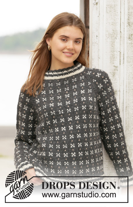 Akranes / DROPS 205-20 - Knitted jumper with Nordic Icelandic pattern and raglan in DROPS Nepal. The piece is worked top down. Sizes S - XXXL.