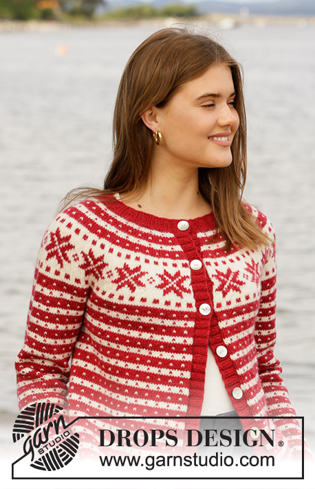 Candy Cane Lane Jacket / DROPS 205-21 - Knitted jacket with nordic Fana pattern in DROPS Karisma or DROPS Lima. The piece is worked top down with round yoke and Nordic pattern. Sizes S - XXXL.