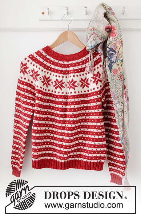 Candy Cane Lane Sweater / DROPS 205-22 - Free knitting patterns by DROPS Design