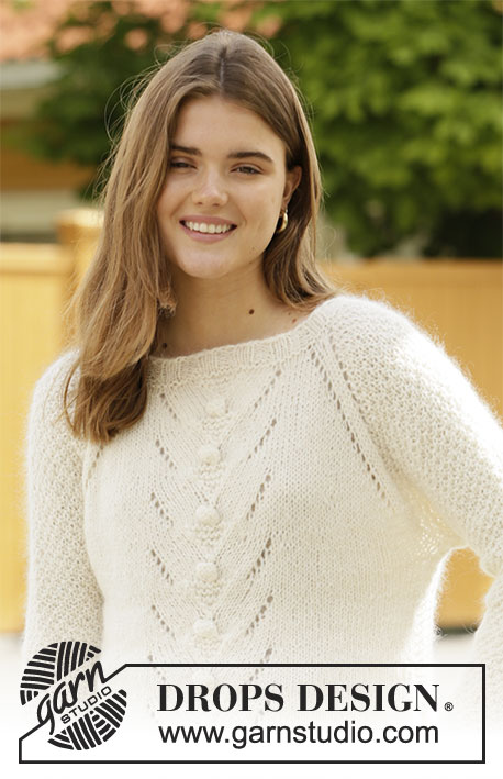 Rise Up / DROPS 205-50 - Knitted jumper in DROPS Sky and DROPS Kid-Silk. Piece is knitted top down with raglan, lace pattern, vents in the sides and double moss stitch on sleeves. Size: S - XXXL