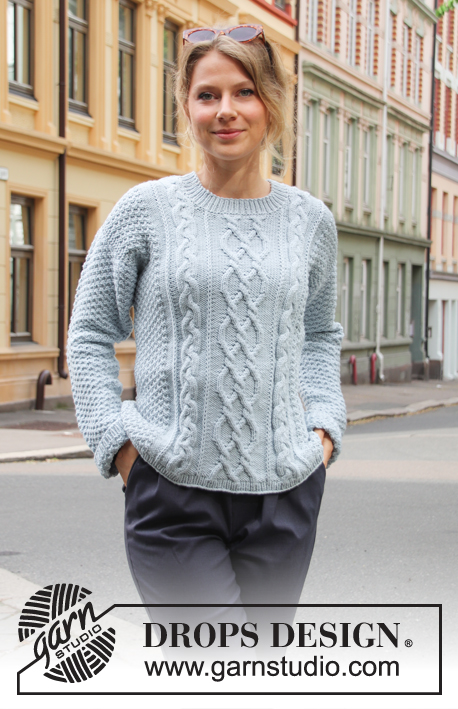Winter Delight / DROPS 205-7 - Knitted sweater with cables and double moss stitch. The piece is worked in DROPS Merino Extra Fine. Sizes S – XXXL.