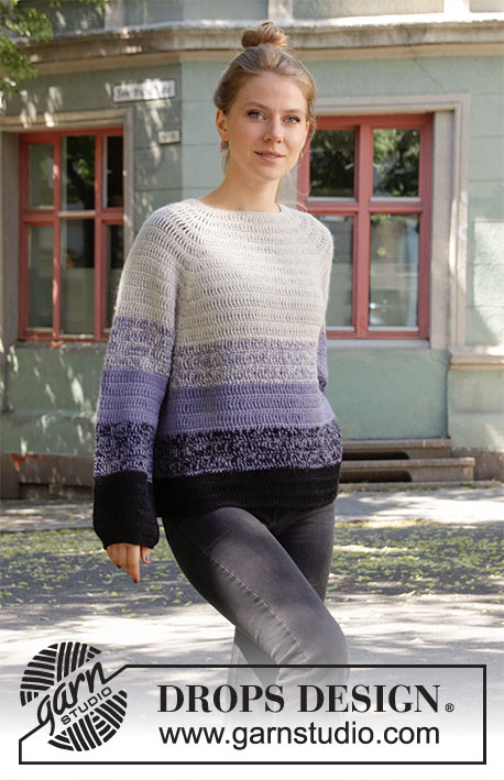 Purple Dawn / DROPS 206-13 - Crocheted jumper with raglan in 2 strands DROPS Alpaca. The piece is worked top down with stripes. Sizes S - XXXL.