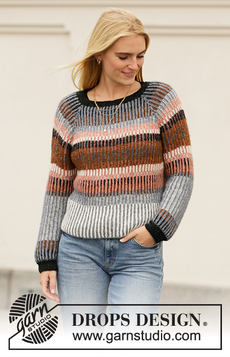 Lake Autumn / DROPS 206-2 - Knitted jumper with raglan in DROPS Sky. Piece is knitted top down with English rib and stripes in 2 colours. Size: S - XXXL