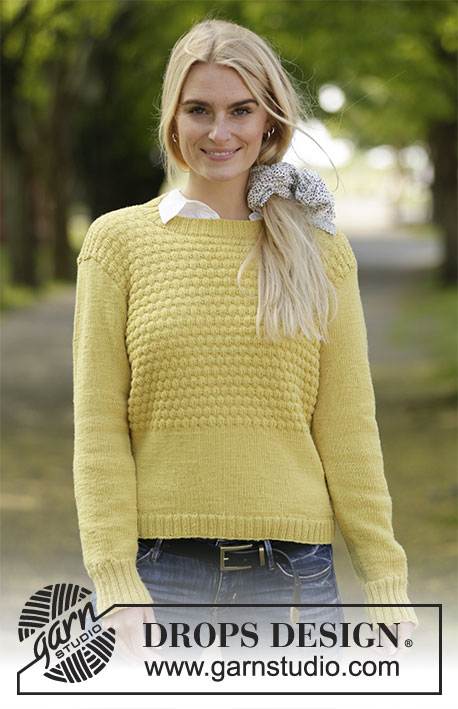 Golden Puffs / DROPS 207-17 - Knitted jumper in DROPS BabyMerino. The piece is worked in stocking stitch with textured pattern. Sizes S - XXXL.