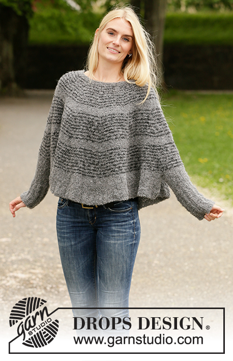 Seashell Search / DROPS 207-18 - Knitted poncho-jumper in DROPS Alpaca Bouclé. The piece is worked top down with round yoke and stripes. Sizes S - XXXL.