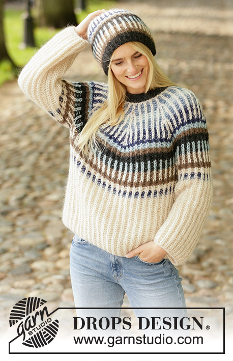 Urban Autumn / DROPS 207-26 - Knitted sweater and hat in DROPS Air. The piece is worked top down with one-colored English rib and 2-colored English rib in stripes. Sizes S - XXXL.
