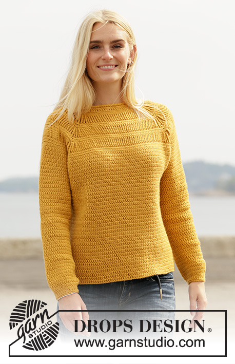 Sunny Trails / DROPS 207-28 - Crocheted jumper with raglan in DROPS Lima. The piece is worked top down with stripes in texture with quintuple-treble crochets. Sizes S - XXXL.