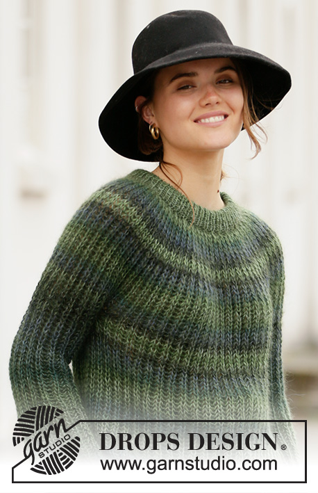Winter Willow / DROPS 207-30 - Gestrickter Pullover mit Patent in DROPS Delight und DROPS Kid-Silk gestrickt. Größe S - XXXL.