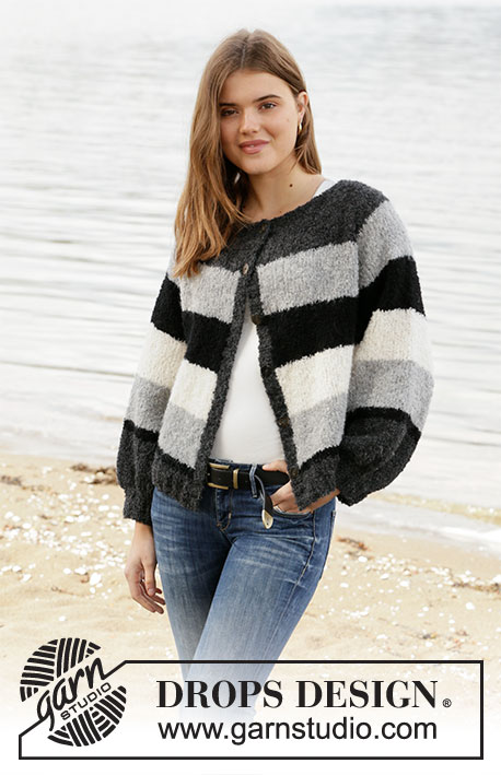 Row by Row Jacket / DROPS 207-39 - Knitted jacket with stripes in DROPS Alpaca Bouclé. Worked top down. Size: S - XXXL