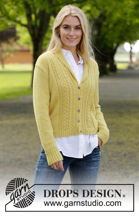 Marigold Sunshine / DROPS 207-4 - Knitted jacket in DROPS BabyMerino. The piece is worked with cables, lace pattern and shawl collar. Sizes S - XXXL.