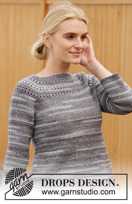 Cracked Pepper / DROPS 207-44 - Crocheted jumper in DROPS Fabel. Piece is crocheted top down with lace pattern and raglan. Size: S - XXXL
