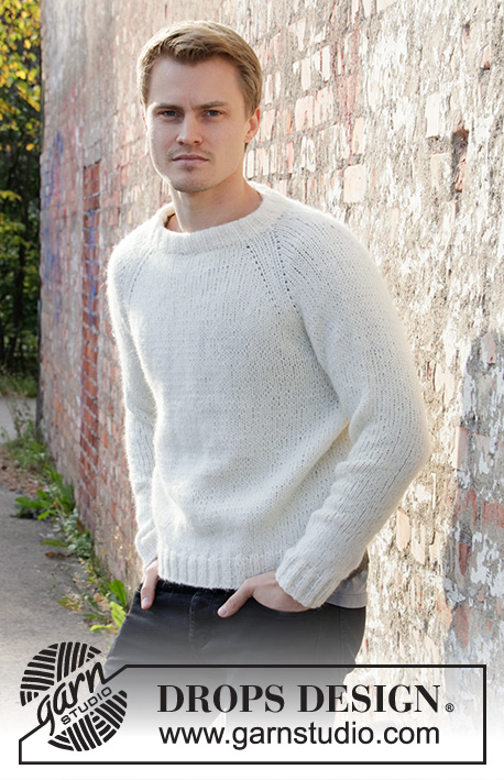Carly Pullover / DROPS 208-1 - Knitted jumper with raglan for men, worked top down. Sizes S - XXXL. The piece is worked with DROPS Air.