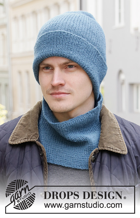 Blue Winter / DROPS 208-7 - Knitted hat/ hipster-hat and neck warmer for men in DROPS Alpaca with rib.