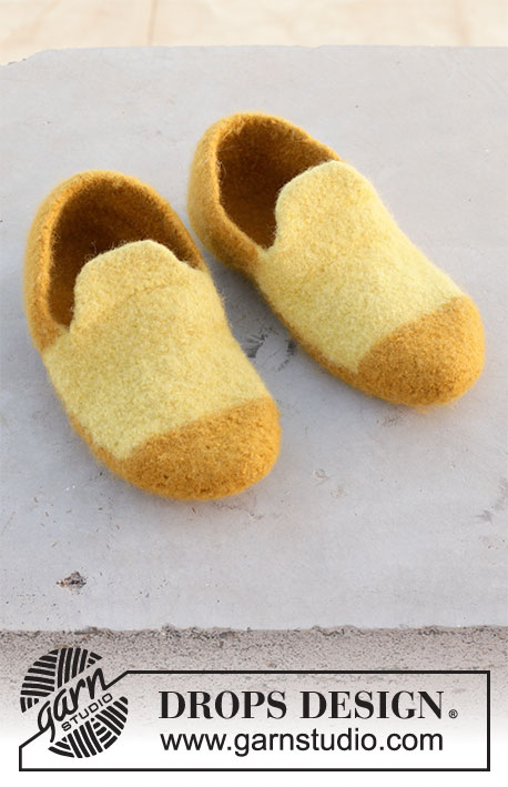 Good Morning Sunshine / DROPS 209-17 - Felted slippers in DROPS Alaska. The piece is worked back and forth in one piece, which is then sewn together before felting. Sizes 35-46.