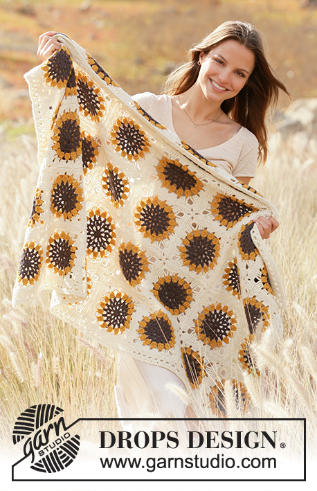 Golden Garden / DROPS 209-3 - Crochet blanket in squares with sunflower in DROPS Lima.