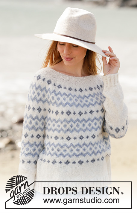 River Challenge / DROPS 210-1 - Knitted jumper with Nordic pattern in DROPS Sky. The piece is worked top down with round yoke. Sizes S - XXXL.