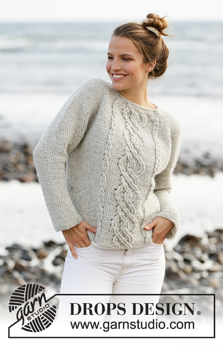 Graceful Cables / DROPS 210-12 - Crocheted jumper with raglan in DROPS Air. The piece is worked top down with cables and relief-stitches. Sizes XS - XXL.