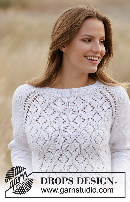 Dripping Diamonds / DROPS 210-13 - Knitted jumper with raglan in DROPS Big Merino. Piece is knitted top down with lace pattern. Size: S - XXXL