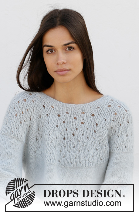 Cloud Dancer / DROPS 210-21 - Knitted jumper in DROPS Air. The piece is worked top down with round yoke, lace pattern in rib on the yoke and ¾-length sleeves. Sizes XS - XXL.