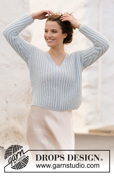 Avriel / DROPS 210-25 - Knitted jumper with English rib and v-neck in DROPS Air. Sizes S – XXXL.
