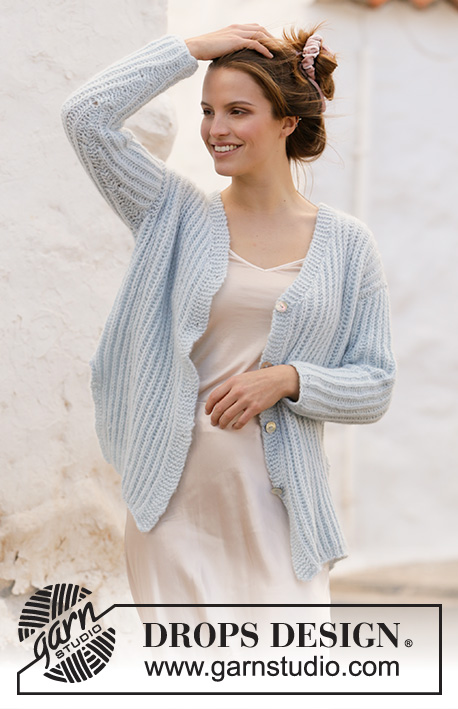 Avriel Cardigan / DROPS 210-26 - Knitted jacket with English rib and v-neck in DROPS Air. Sizes S – XXXL.