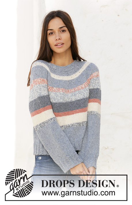Sailors Sweater / DROPS 210-27 - Knitted jumper with round yoke and stripes in 2 strands DROPS Sky. Sizes S - XXXL.
