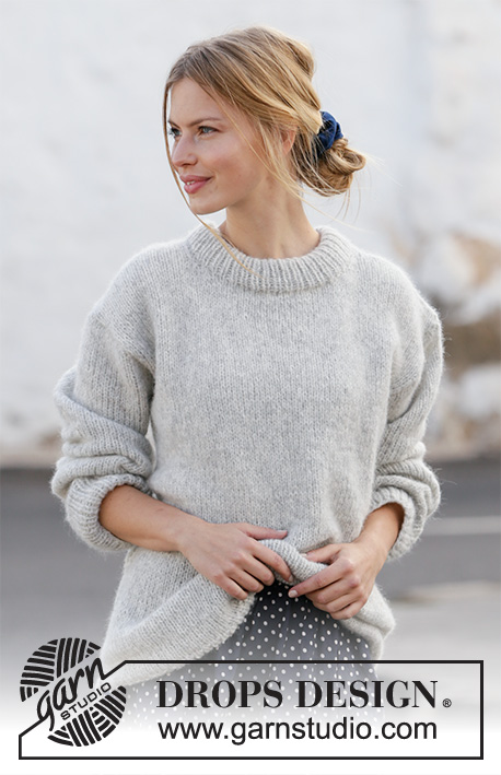 Grey Pearl / DROPS 210-36 - Knitted jumper in DROPS Air. Sizes S - XXXL.