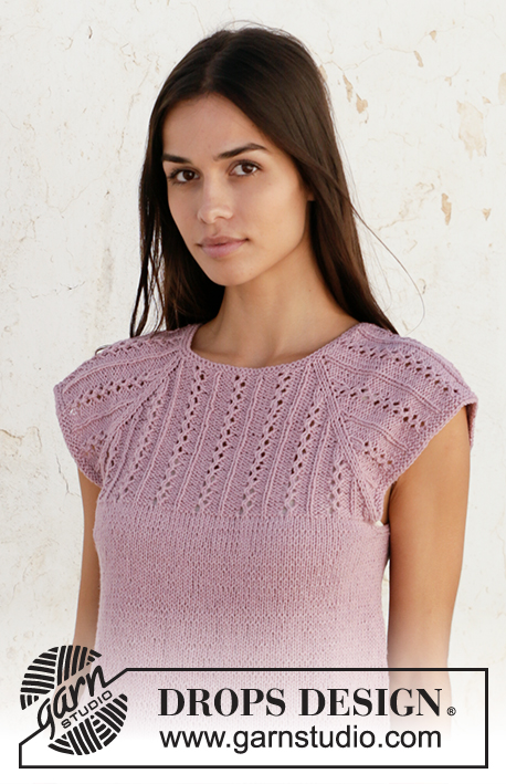 Sweet Impressions / DROPS 211-12 - Knitted top with raglan in DROPS Belle. Piece is knitted top down with lace pattern. Size: S - XXXL