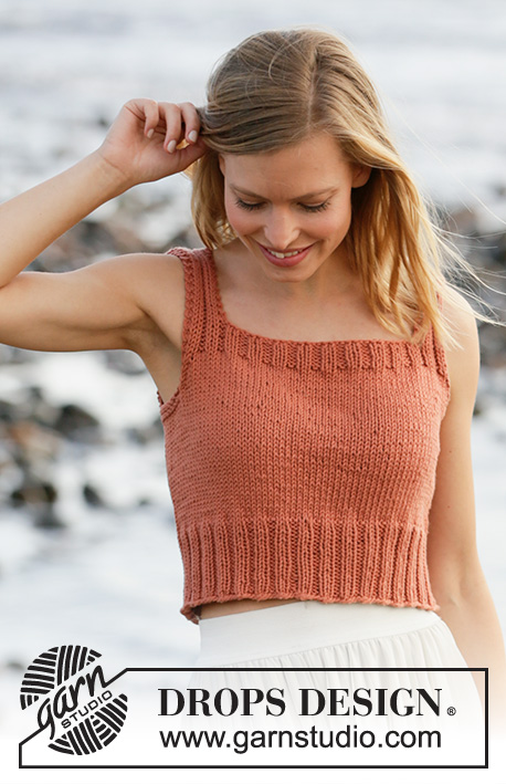 Spiced Breeze / DROPS 211-15 - Knitted top in DROPS Paris. Piece is knitted in stockinette stitch with edges in rib. Size: S - XXXL