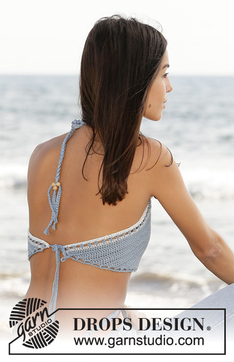 Beach Rite / DROPS 211-17 - Crocheted top in DROPS Muskat. Size S-XL.
