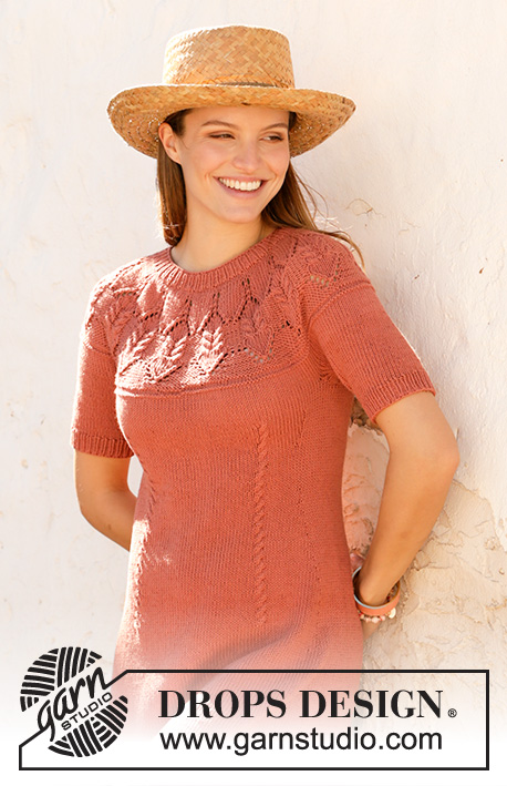 Barn Dance / DROPS 211-2 - Knitted dress in DROPS Cotton Light. Piece is knitted top down with round yoke, lace pattern, cables and short sleeves. Size: S - XXXL