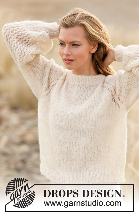 Cloud's Hug / DROPS 212-13 - Knitted jumper with raglan in DROPS Brushed Alpaca Silk. Piece is knitted top down with lace pattern and balloon sleeves. Size XS – XXL.