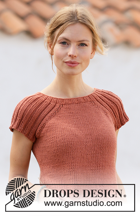Canyon Clay / DROPS 212-15 - Knitted top with raglan in DROPS Paris. Piece is knitted top down with rib. Size: S - XXXL