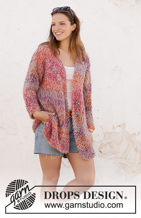 Sunsets and Sand Jacket / DROPS 212-18 - Knitted jacket with moss stitch and V-neck in DROPS Big Delight and DROPS Melody. Size XS–XXL.
