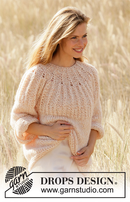 Summer Peach / DROPS 212-26 - Knitted sweater in DROPS Air and DROPS Brushed Alpaca Silk. Piece is knitted top down with Fisherman's rib stitches on yoke and ¾ sleeves. Size XS – XXXL.