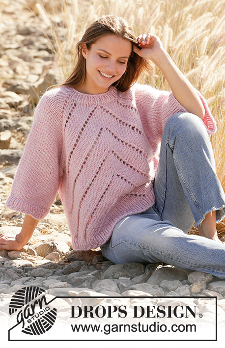 Meadowsweet / DROPS 212-29 - Knitted sweater with raglan in DROPS Eskimo. Piece is knitted top down with lace pattern. Size XS – XXL.