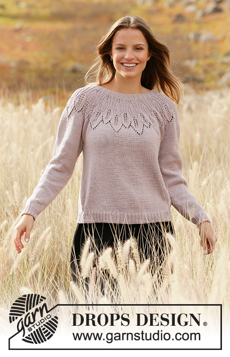 Listen to Nature / DROPS 213-1 - Knitted jumper with round yoke in DROPS Muskat. Piece is knitted top down with leaf pattern and lace pattern. Size: S - XXXL