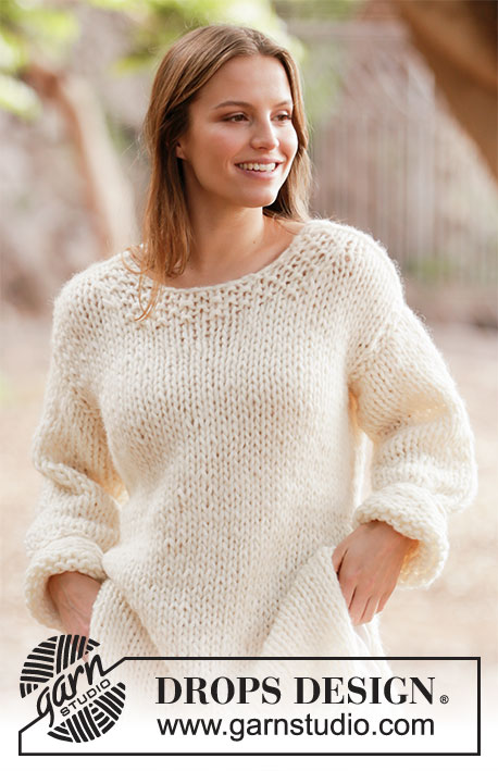 White comfort sweater / DROPS 213-30 - Knitted jumper with split in sides in DROPS Eskimo and DROPS Brushed Alpaca Silk. Sizes XS - XXL.