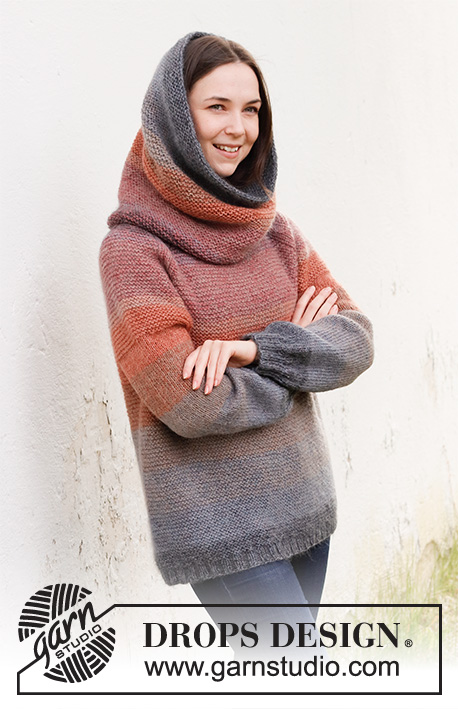 Sunsets Glow / DROPS 214-13 - Knitted neck warmer in DROPS Alpaca and DROPS Kid-Silk. The piece is worked in garter stitch and stripes.