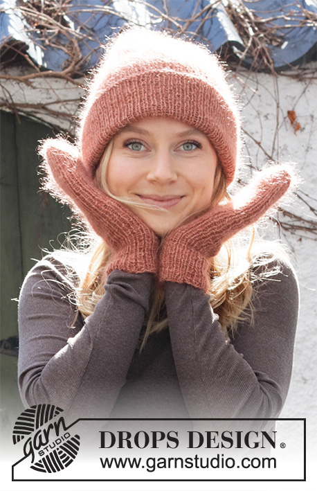 Blushing Fall / DROPS 214-2 - Knitted hat and mittens in DROPS Alpaca and DROPS Kid-Silk. The piece is worked in rib.