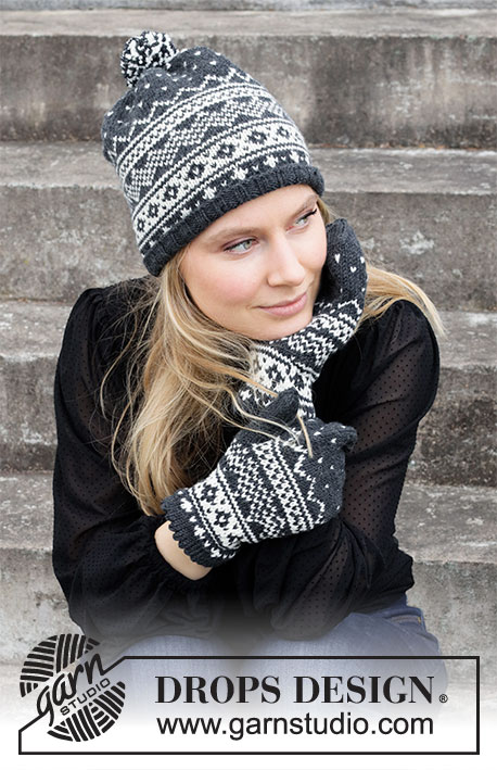 Winters Night Enchantment Set / DROPS 214-50 - Strikket lue og votter med nordisk mønster i DROPS Merino Extra Fine.