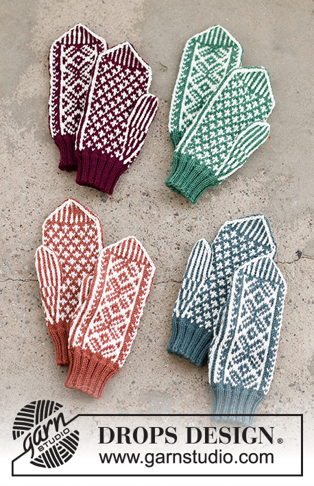 Clapping Elves / DROPS 214-66 - Knitted mittens for Christmas with Nordic pattern in DROPS Merino Extra Fine. Theme: Christmas
