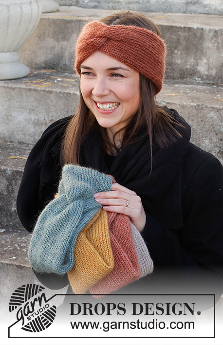Winter Smiles Headband / DROPS 214-68 - Strikket pannebånd med flette i DROPS Alpaca og DROPD Kid-Silk. Størrelse S - XL.
