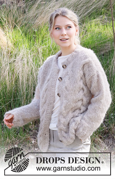 Swirling Smoke Jacket / DROPS 215-19 - Knitted jacket with stocking stitch and cables in DROPS Melody. Sizes S - XXXL.