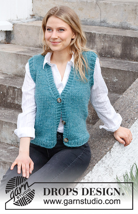 Vermillion Lake Vest / DROPS 215-38 - Free knitting patterns by DROPS Design