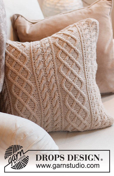 Poetry Reading Pillow / DROPS 215-46 - Knitted cushion-cover with cables in DROPS Lima.