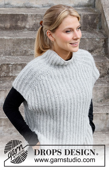 Easy Over / DROPS 217-13 - Knitted vest with English rib in DROPS Air. Worked top down. Size: XS - XXL