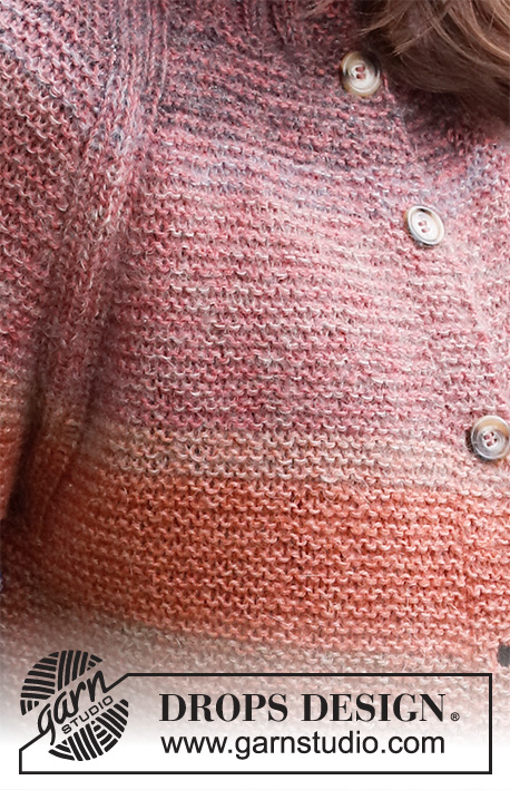 Sunsets Glow Jacket / DROPS 217-25 - Knitted jacket in DROPS Alpaca and DROPS Kid-Silk. The piece is worked top down with double neck, raglan, garter stitch and stripes. Sizes S - XXXL.