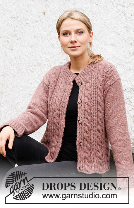 Rippling Roses Jacket / DROPS 218-16 - Knitted jacket with cables and English rib stitches in DROPS Air. Sizes S – XXXL.