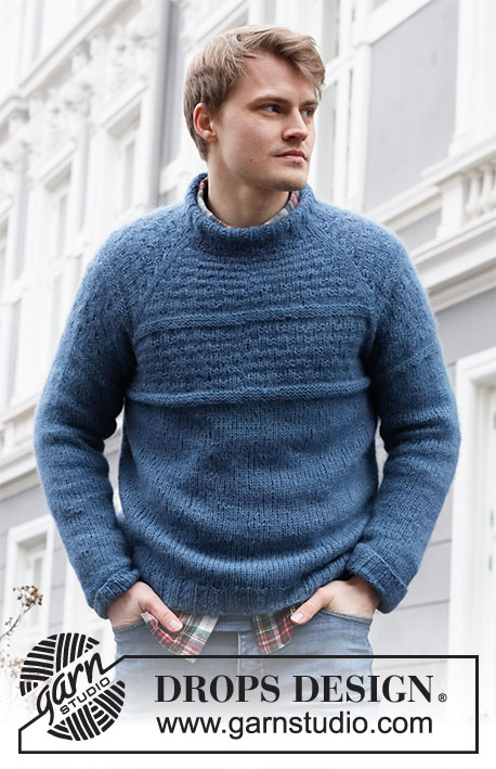 Arctic Tide / DROPS 219-5 - Knitted jumper with raglan for men in DROPS Air. Piece is knitted top down with textured pattern and stocking stitch. Size: S - XXXL